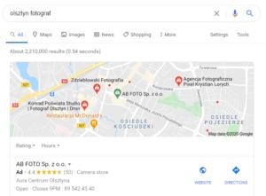 pozycjonowanie Olsztyn - mapa Google