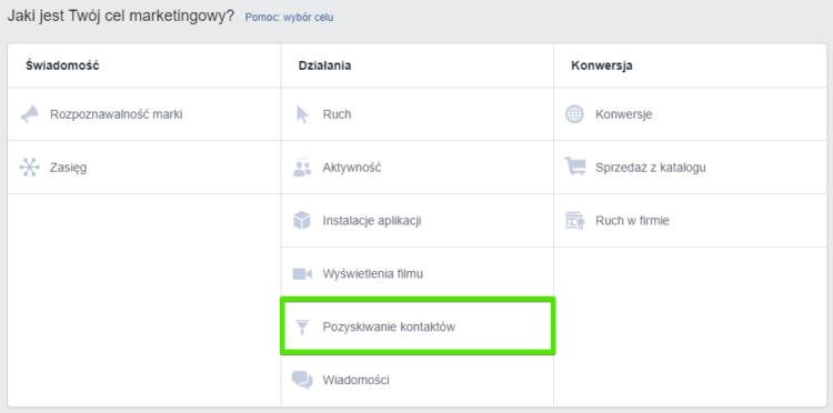 Pozyskiwanie kontaktów - reklamy Facebook Ads