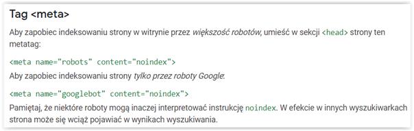 indeksacja strony wytyczne Google