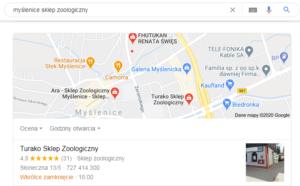 Pozycjonowanie Myślenice - mapa