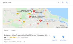 Pozycjonowanie w Gdańsku - mapa