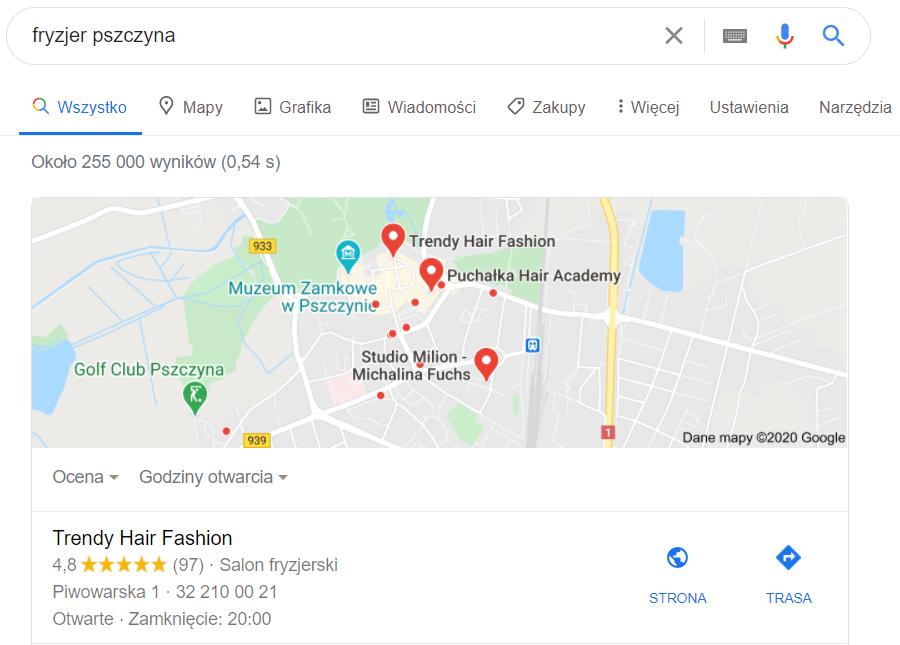 Pozycjonowanie Pszczyna - mapa