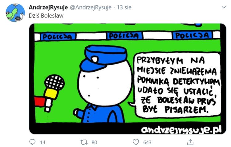 Wpis na Twitterze - profil AndrzejRysuje