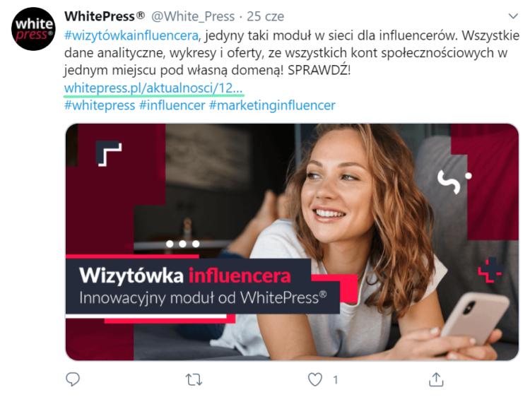 Wpis na Twitterze - profil Whitepress