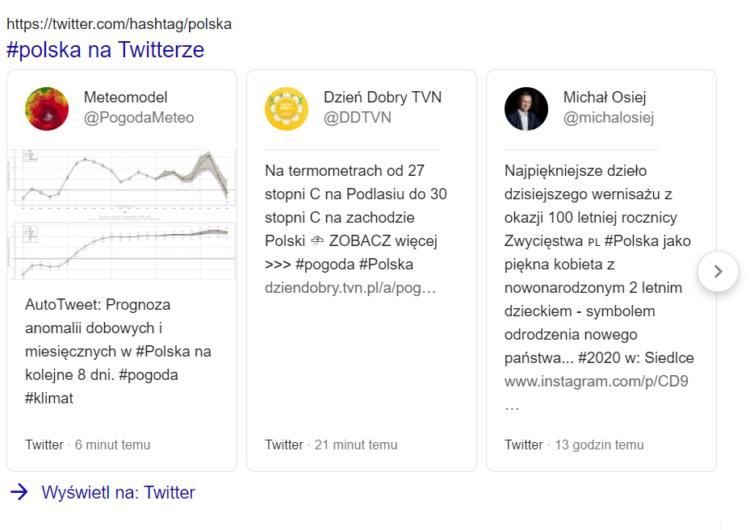 Wpisy na Twitterze w Google