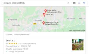 Pozycjonowanie Zakopane - mapa