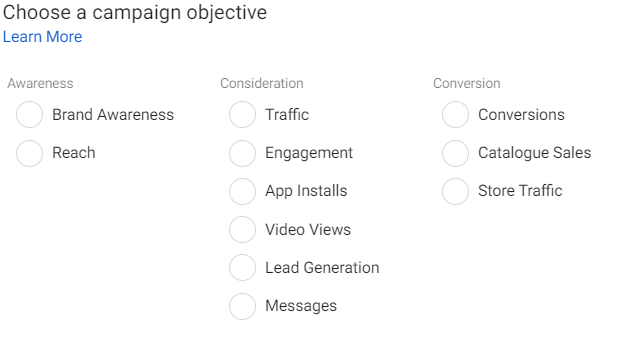 Facebook ads - objectives