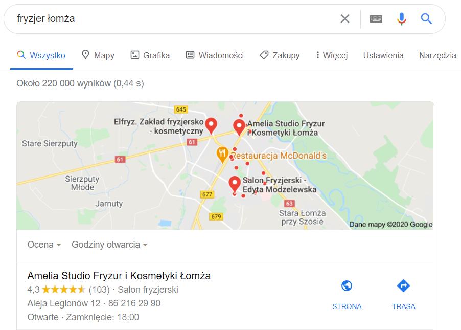 Piła - pozycjonowanie lokalne mapa