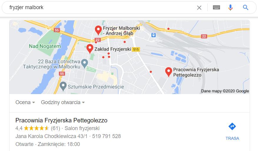 Pozycjonowanie lokalne Malbork - mapa