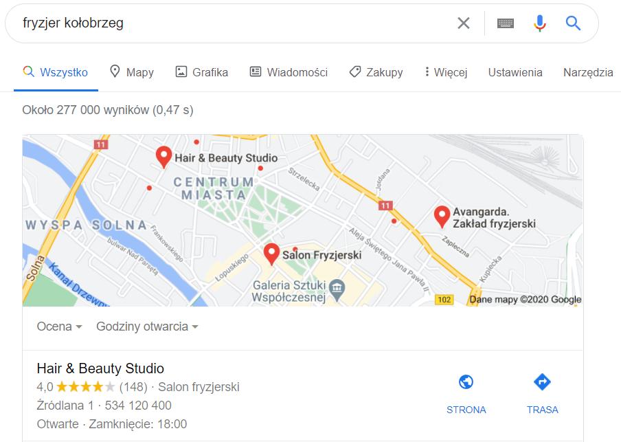 Pozycjonowanie lokalne Kołobrzeg - mapa