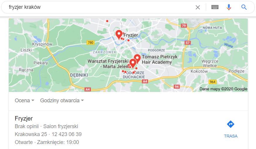 Pozycjonowanie lokalne Kraków - mapa