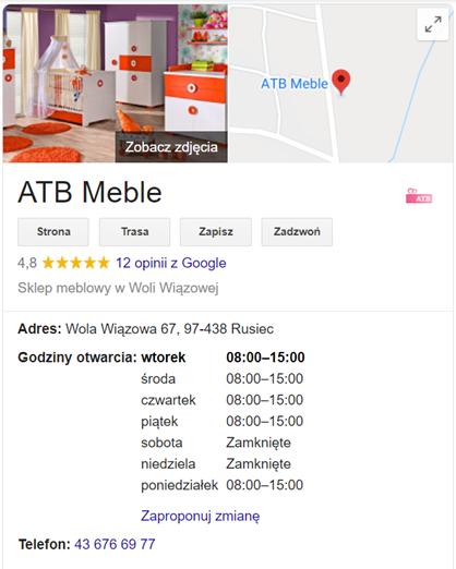 Przykład wizytówki firmy w Google