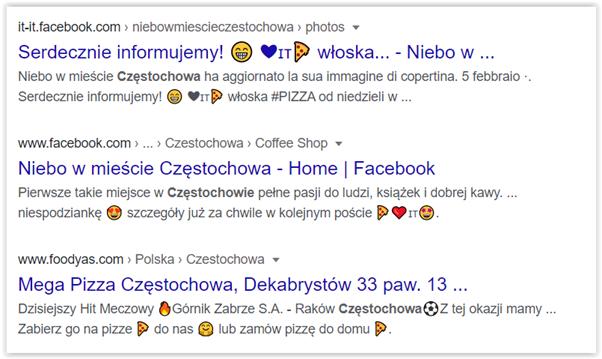 emoji pizza wyszukiwanie w google