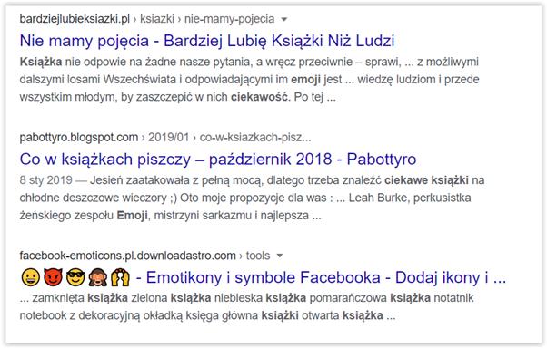 emoji w wynikach wyszukiwania