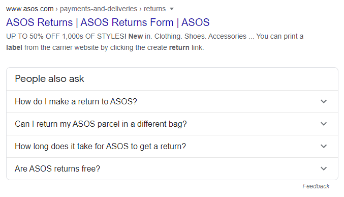 FAQ in search results example