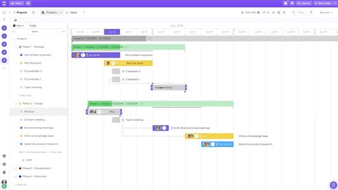 clickup managing SEO project