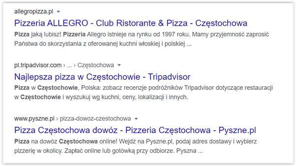 wyniki wyszukiwania fraza pizza częstochowa