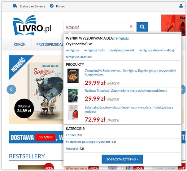 wyszukiwarka w sklepie internetowym autouzupełnianie