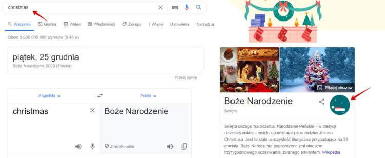 Ciekawostka google na święta