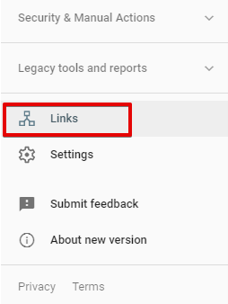 How to check links in Google Search Console - screenshot