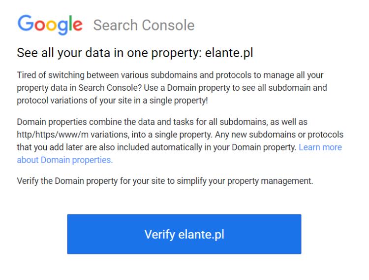 Błąd w google search console