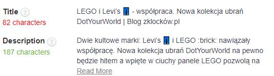 Meta dane blog - Z klocków case study