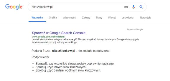 Case study SEO - wyindeksowanie strony z Google