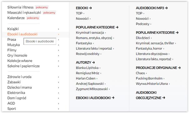 przykład menu bocznego na stronie