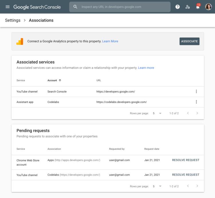 Powiązania - Google Search Console