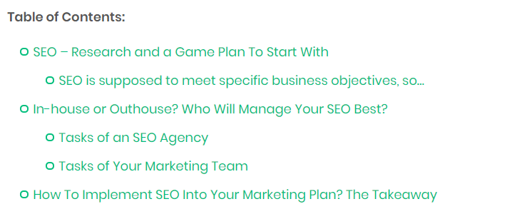 table of content on blog example
