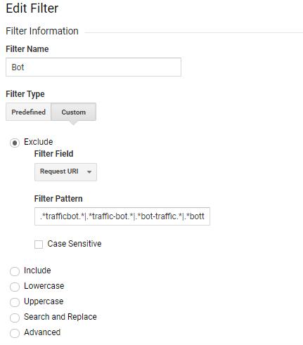 google analytics traffic bot filter setup