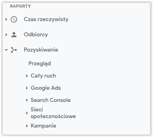 Google Analytics pozyskiwanie