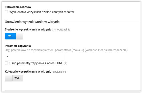 konfiguracja wyszukiwania w witrynie