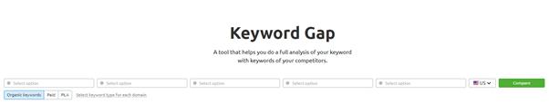 keyword gap in semrush
