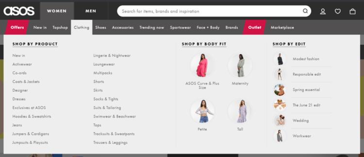 e-commerce ux menu