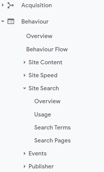 e-commerce site search in google analytics