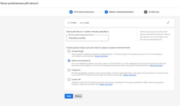 dodanie pliku produktowego google merchant center