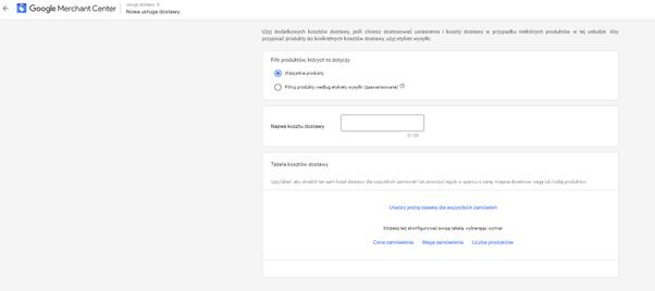 google marchant center konfiguracja dostawy