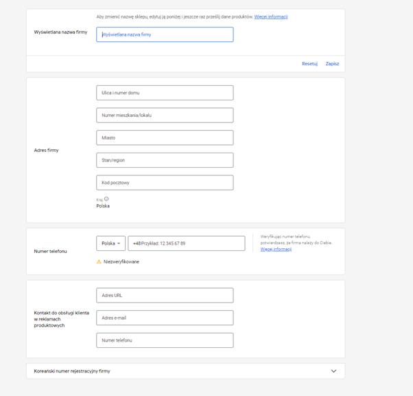 konfiguracja google marchant center informacje o firmie