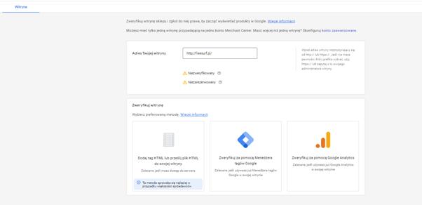 jak skonfigurować konto google merchant center