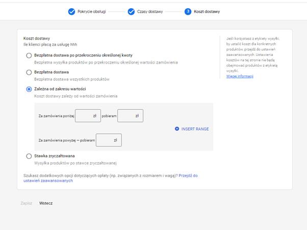 koszt dostawy konfiguracja google merchant center