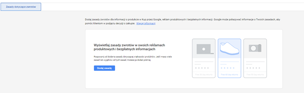polityka zwrotów google merchant center