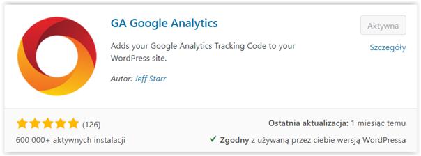 wtyczka wordpress ga google analytics
