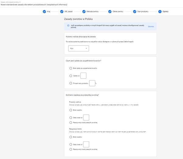 google merchant center zasady zwrotów
