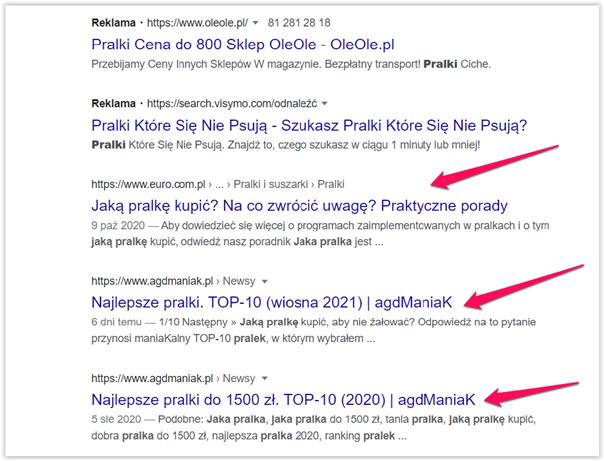 wyniki organiczne google