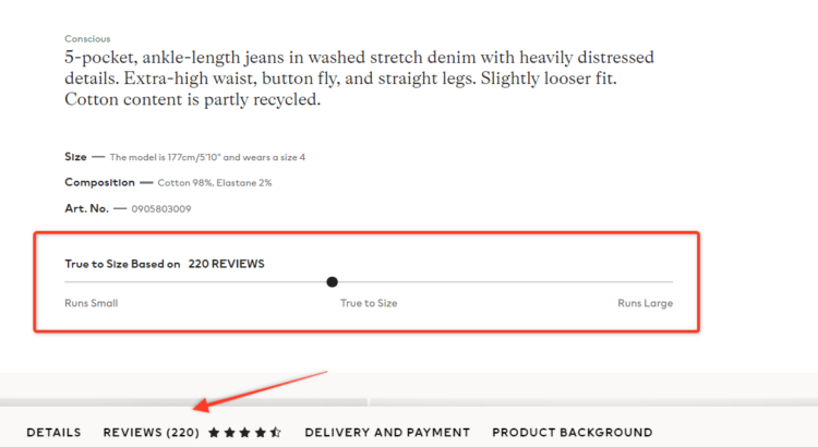 example of well implemented e-commerce product reviews on website