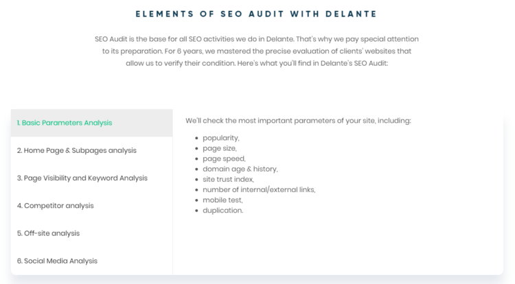 seo offer comparison seo audit