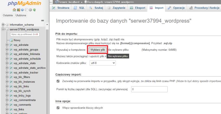 importowanie do bazy danych backup strony