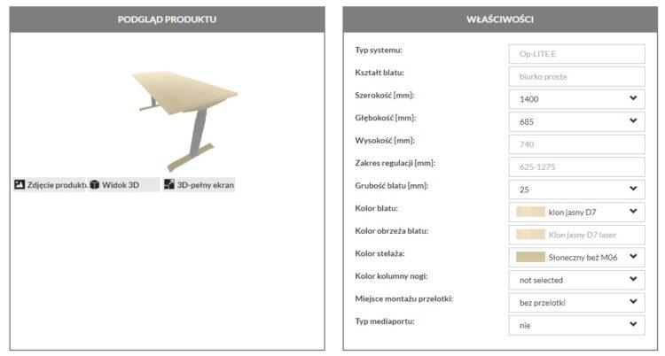 przykład konfiguratora produktów e-commerce