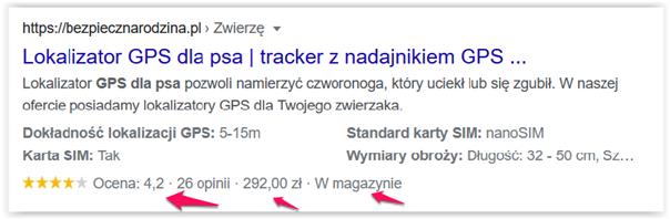 dane strukturalne w wynikach wyszukiwania